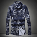 Fashion Floral Printed Men Blouses shirt Long Sleeve Casual Camisa Masculina Flower Hipster Pattern Tees Cool Tops Night Club