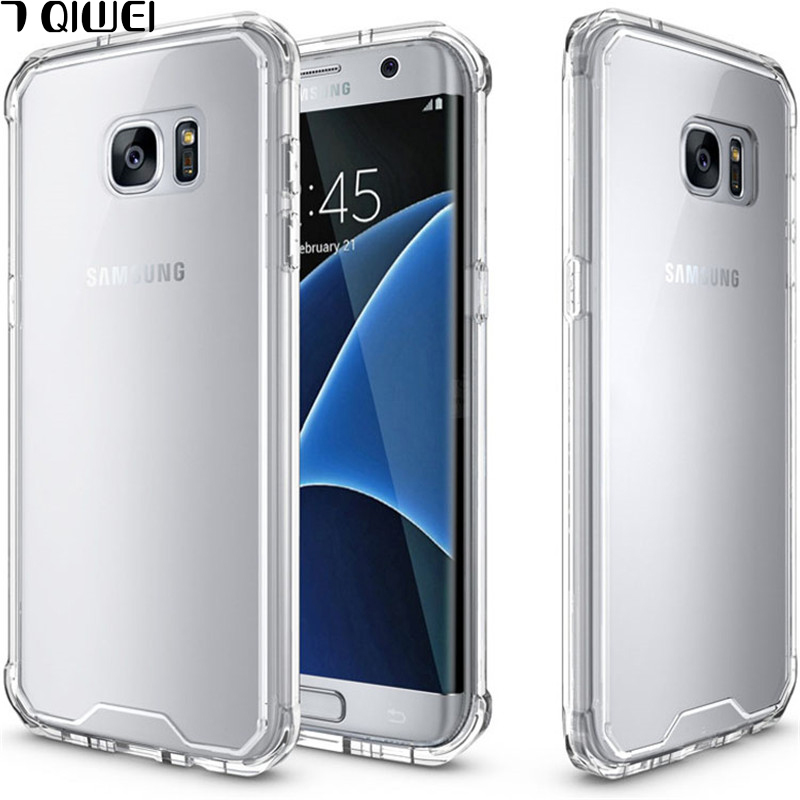 For Samsung S7 Edge Case Hot Crystal Hybrid Bumper Clear Hard Acrylic Back Cover for Samsung Galaxy S7 Case S7Edge Phone Cases
