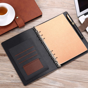 Image 2 - Yiwi A5 Business Planner Black Red Soft Pu Leather loose Leaf Binder Spiral Office Notebook With line Inner Pages
