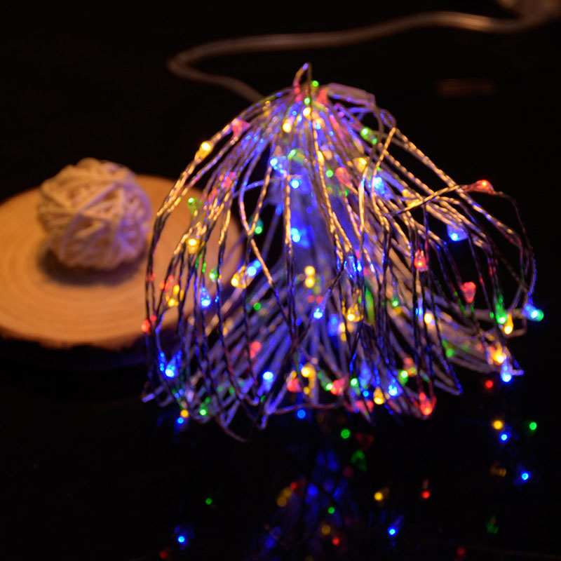10m 100led 8 modes Battery powered Copper wire LED String Light Christmas Light for Wedding Party Holiday Decoration Garland