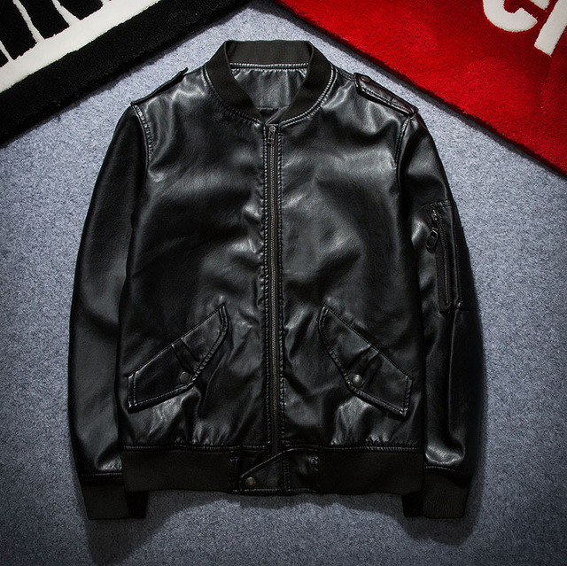 Spring and Autumn Korean Style Men's Solid Color PU Leather Jacket Locomotive Fashion Leisure Coat