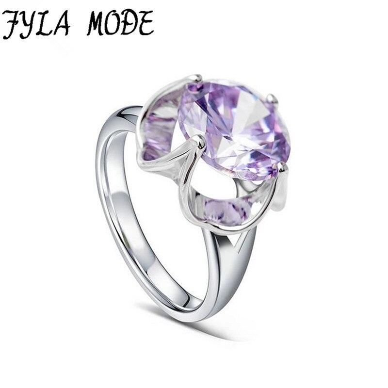 Атанасиос режим Для женщин мода фиолетовый камень кольца 5A циркон ювелирные изделия Золотой Цвет палец Кольца женские брендовые Свадебные Обручение ювелирные изделия