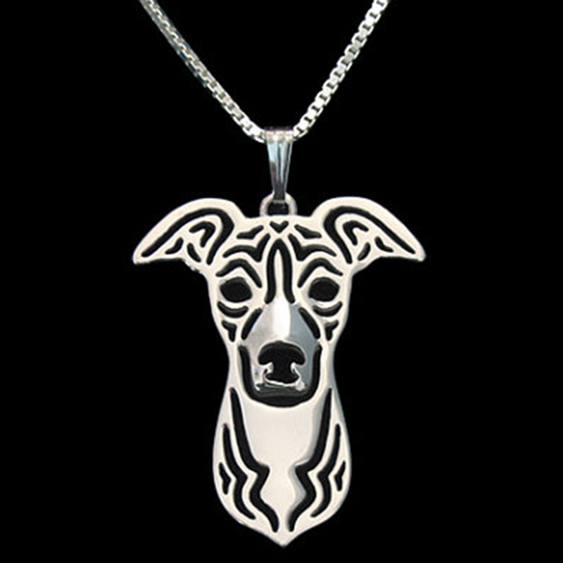 Italian Greyhound Necklace Silver Plated Dog Pendant Necklaces Animal Charm Christmas Gifts For Pet Lovers Dog Jewelry 10pcs