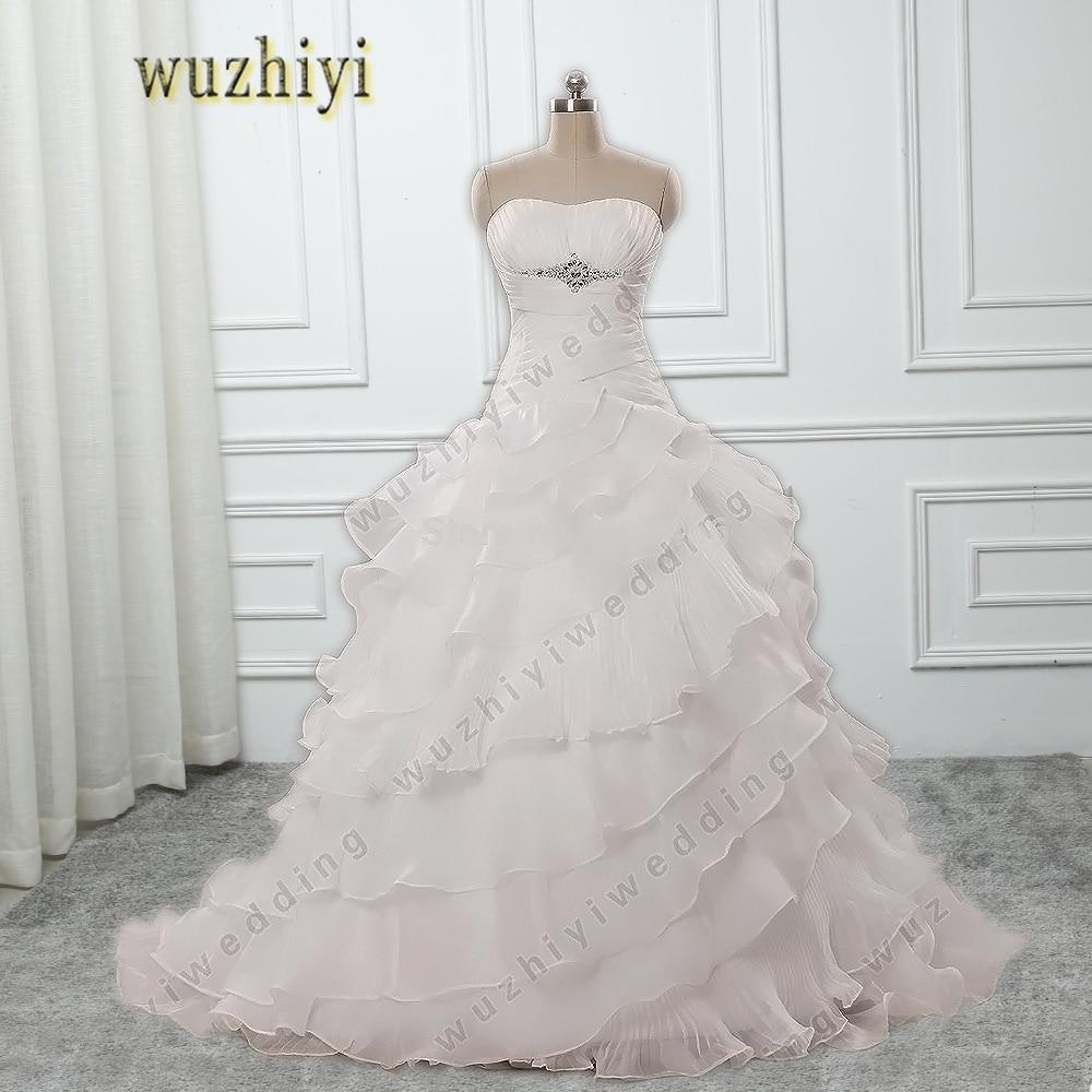 Ruffled Ball Gown Wedding Dress: Wuzhiyi Strapless Crystal Ball Gown Wedding Gown Bride