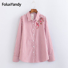 Floral Embroidery Women Shirts Plus Size 3XL 4XL Casual Striped Cotton Long Sleeve Blouse Shirt KKFY2288