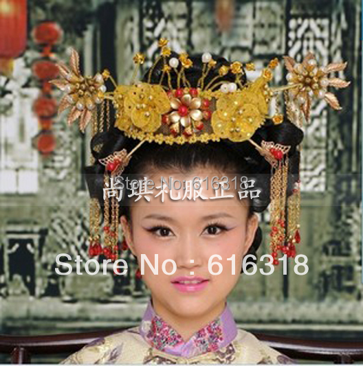 Costume Ancient Chinese Princess or Empress Cap Hair Accessory Bride Wedding Hair Tiaras Hair Coronet wilderness survival fire sparkle and blade cutter tool