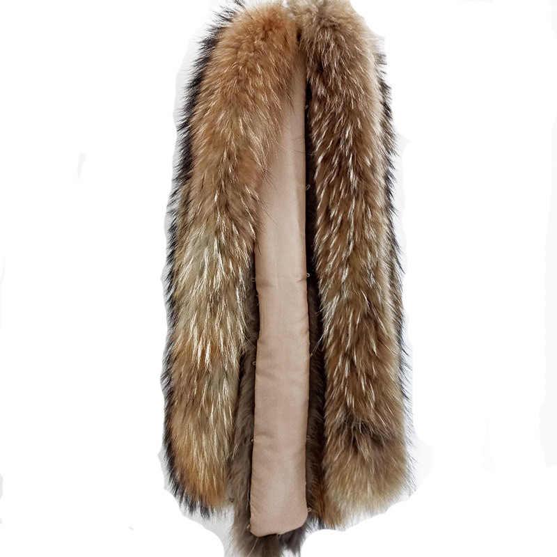 Warm 70cm Dames Lederen Jas Winter Afneembare Echte Wasbeer Bontkraag Manchet Mouw Bont Vrouwen Wasbeer Bont Trim Strip voor Kap