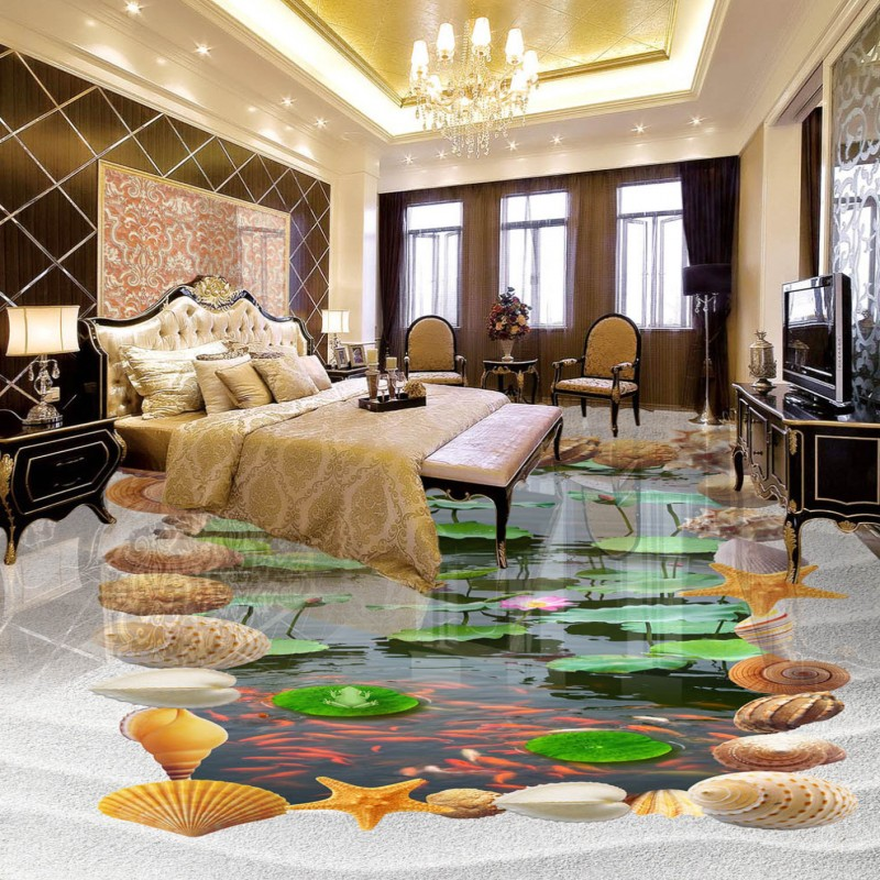 Free Shipping Beach lotus living room bathroom 3d floor high-quality lobby anti-skidding shopping mall non-slip wallpaper mural  free shipping ancient retro restaurant background painting living room lobby mural high quality bathroom restaurant wallpaper