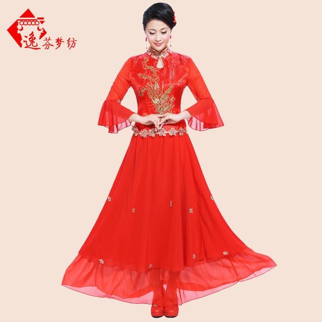 93e3f9a58 2017 nuevo anuncio de boda Chino cheongsam Rojo bordado Phoenix cheongsam  tul de Encaje de Manga