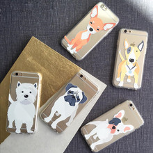 Para o caso do iphone 6 s cães bonitos animais transparente crystal clear macio caso cobrir a pele gel tpu flexível para iphone 6 6 s 4.7 polegadas