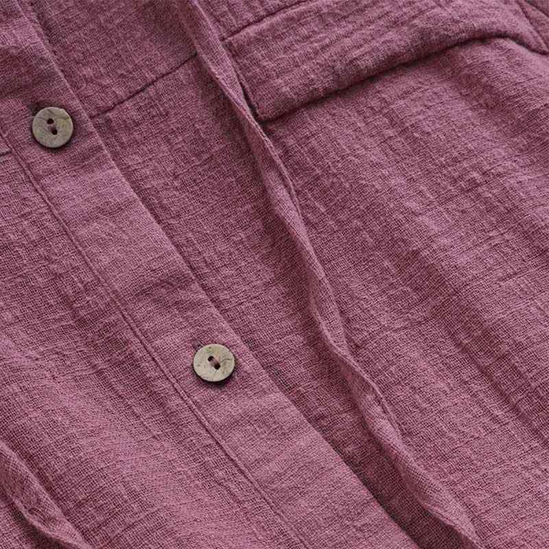 付き巾着女性リネンブラウスカジュアルルーズ長袖ボタン女性シャツ 2019 春ファッションプラスサイズトップス