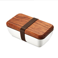 ONEUP Lunch Box Japanese Wood Bento Box Ceramic Bowl BPA Free Portable Food Container With Cutlery Students Picnic School