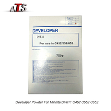 Black Developer Powder DV611 For Konica Minolta C 452 552 652 Compatible C452 C552 C652 Copier Spare Parts 1pcs 250g photocopy machine for konica minolta developer parts c220 280 360 developer powder copier toner