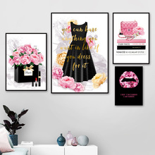 Fashion Book Girl Paris Perfume  Handbag Wall Art Canvas Painting Nordic Posters And Prints pictures For Living Room Decor