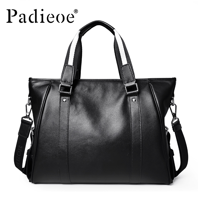 2016Top Quality Real Cow Leather Totes Luxury Brand Men's Leather Briefcases Business Mens Genuine Male Bag Black messenger bags top quality genuine real grain leather boots qshoes mens brand design business dress casual men personalized boot ym08 01