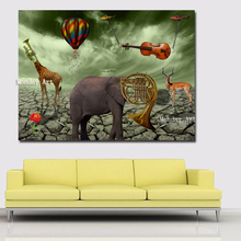 Hand painted Salvador Dali Elephant Deer Trumpet Paintings Best oil Painting Canvas Wall Art painting For Living Room Home Decor