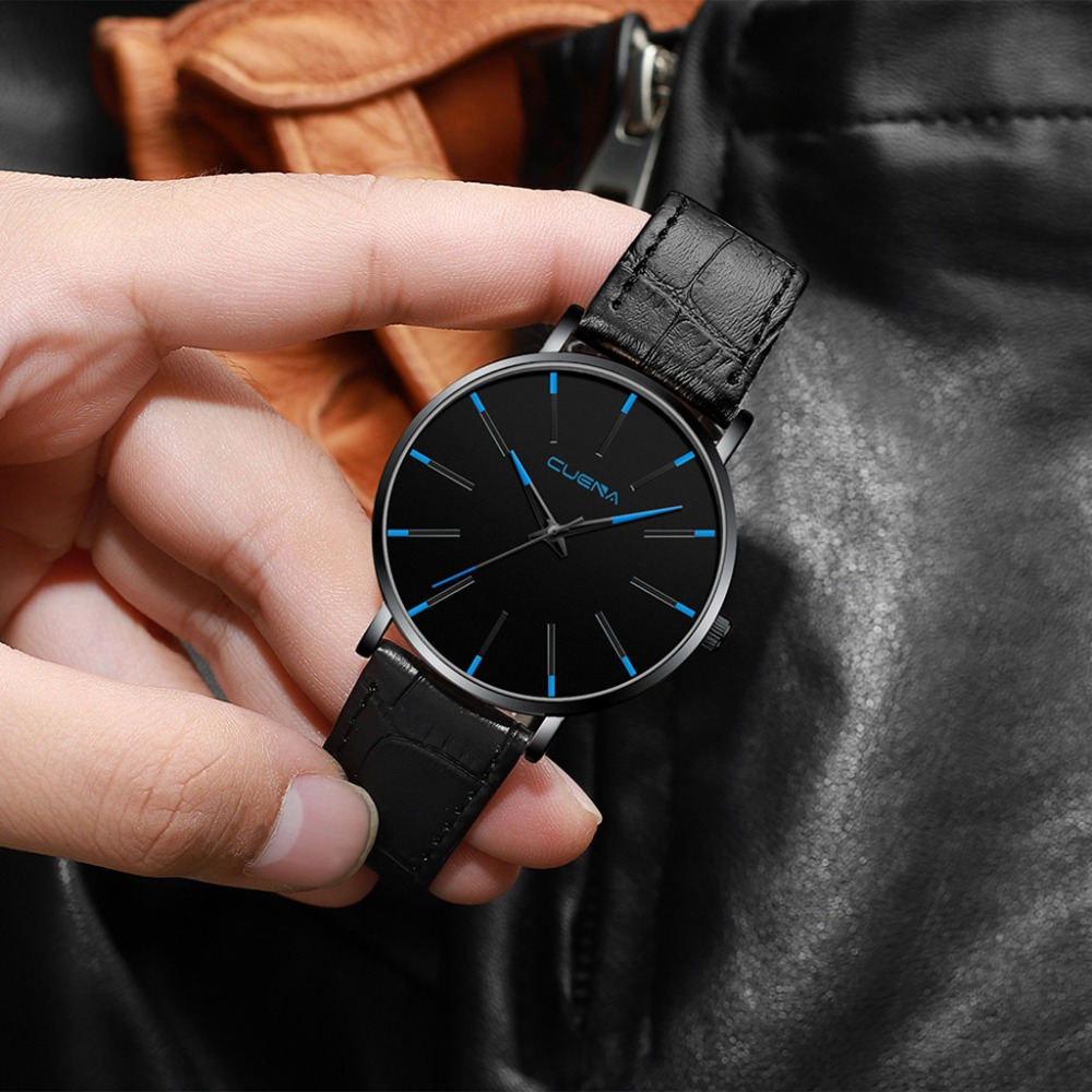 Watch Mens Relogio Montre Homme Simple Watches Men Sport Leather Casual Quartz Wrist Watch Men Watch Male Clock Dropshipping