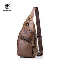 BULLCAPTAIN 2017 Men Chest Bag Male Shoulder Bag Fashion Genuine Leather Bag Big Small Model Bag