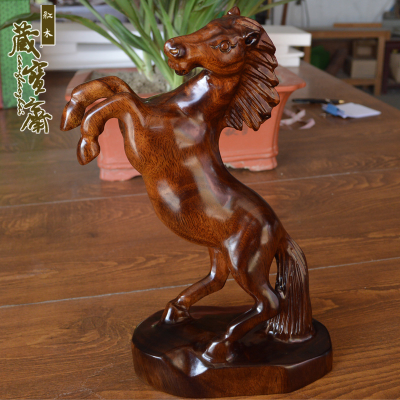 Wholesale and retail wood crafts birthday gift horse horse carvings immediately fortune success to feng shui ornaments