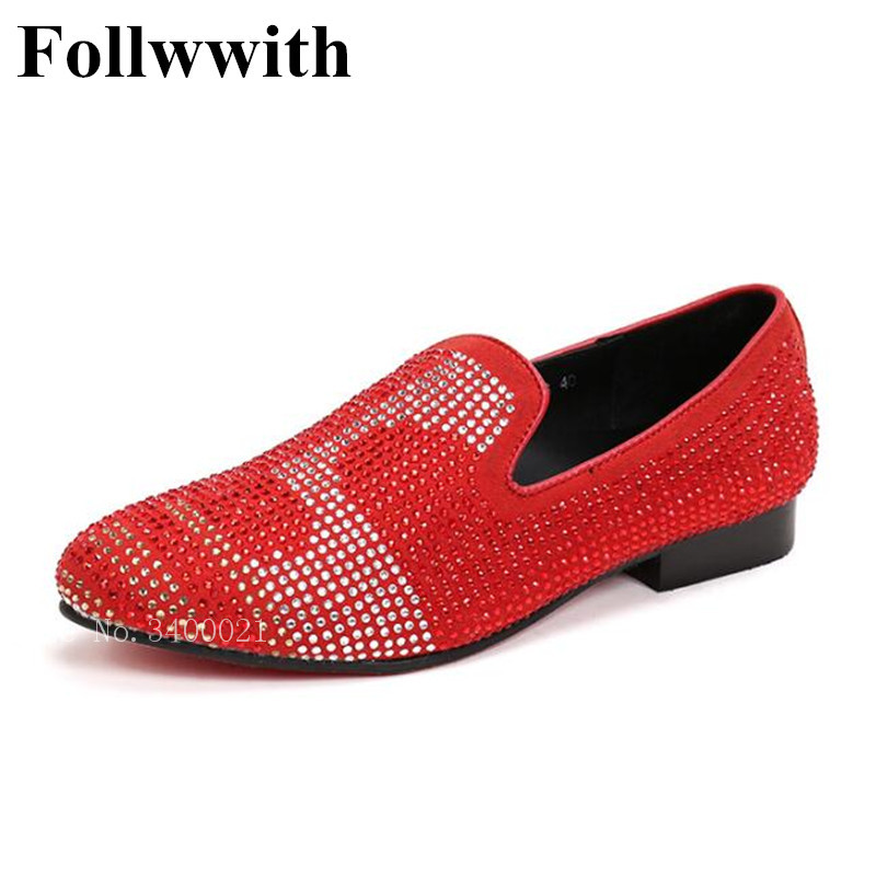 2018 New Arrival Follwwith Brand Handmade Smoking Red Crystal Studs Men Loafers Slip On Wedding Dress Shoes Mens Plus Size 46