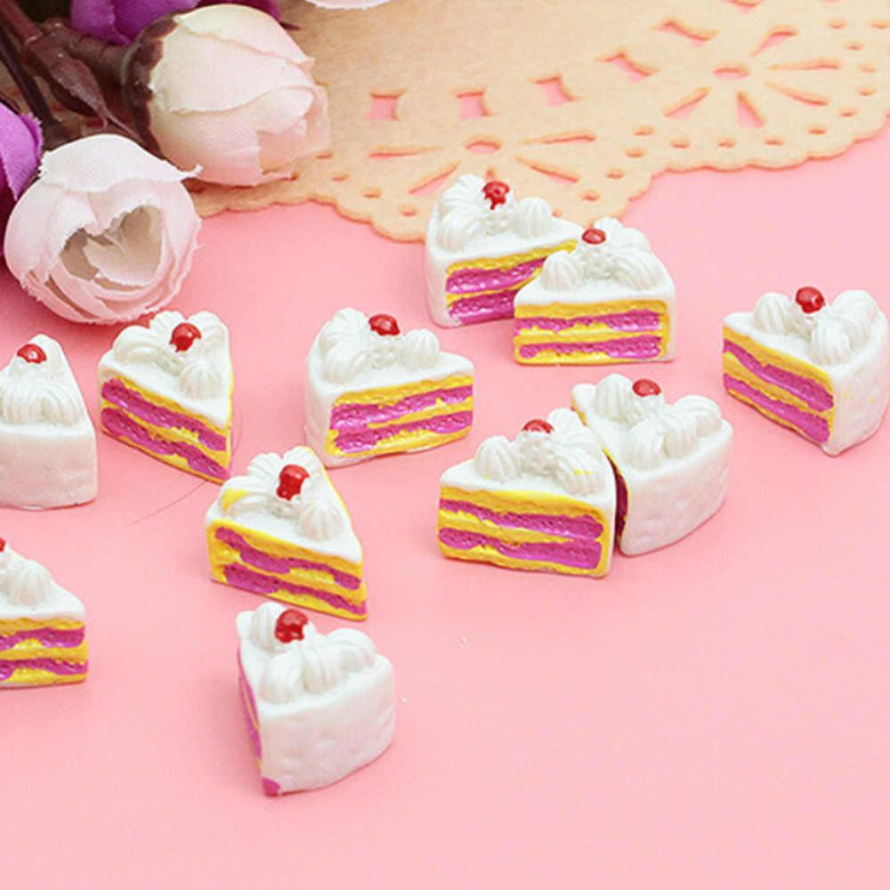 10PCS carino Cabochon In Resina DIY Decorativo Del Mestiere di Casa di Bambola Gioco Giocattolo Kawaii Posteriore Piana In Miniatura Artificiale Falso Torta Cibo