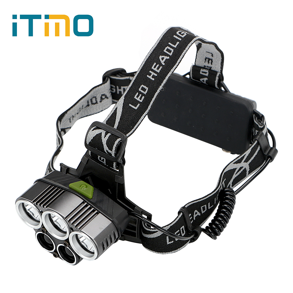ITimo Portable Lighting Emergency Light For Outdoor Activities Aluminum alloy Headlight 6 Modes LED Headlamps Super Bright