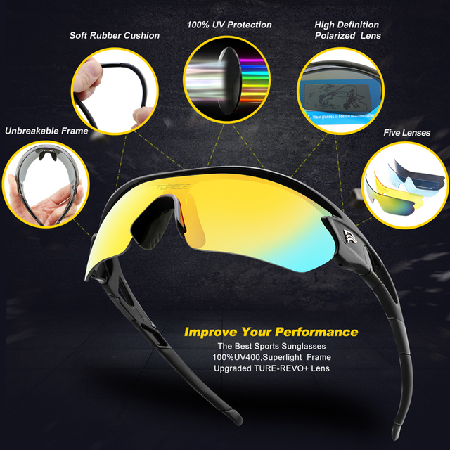 379a2759a0 New Polarized Sports Sunglasses With 5 Interchangeable Lens for Men Women  Cycling Running Driving Fishing Golf Hiking Glasses