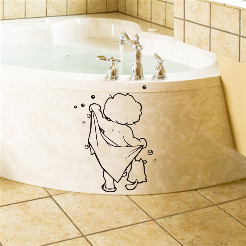 shower boy baby bathroom shower pvc waterproof wall stickers diy removable vinyl wall decals toilet washroom glass door decor