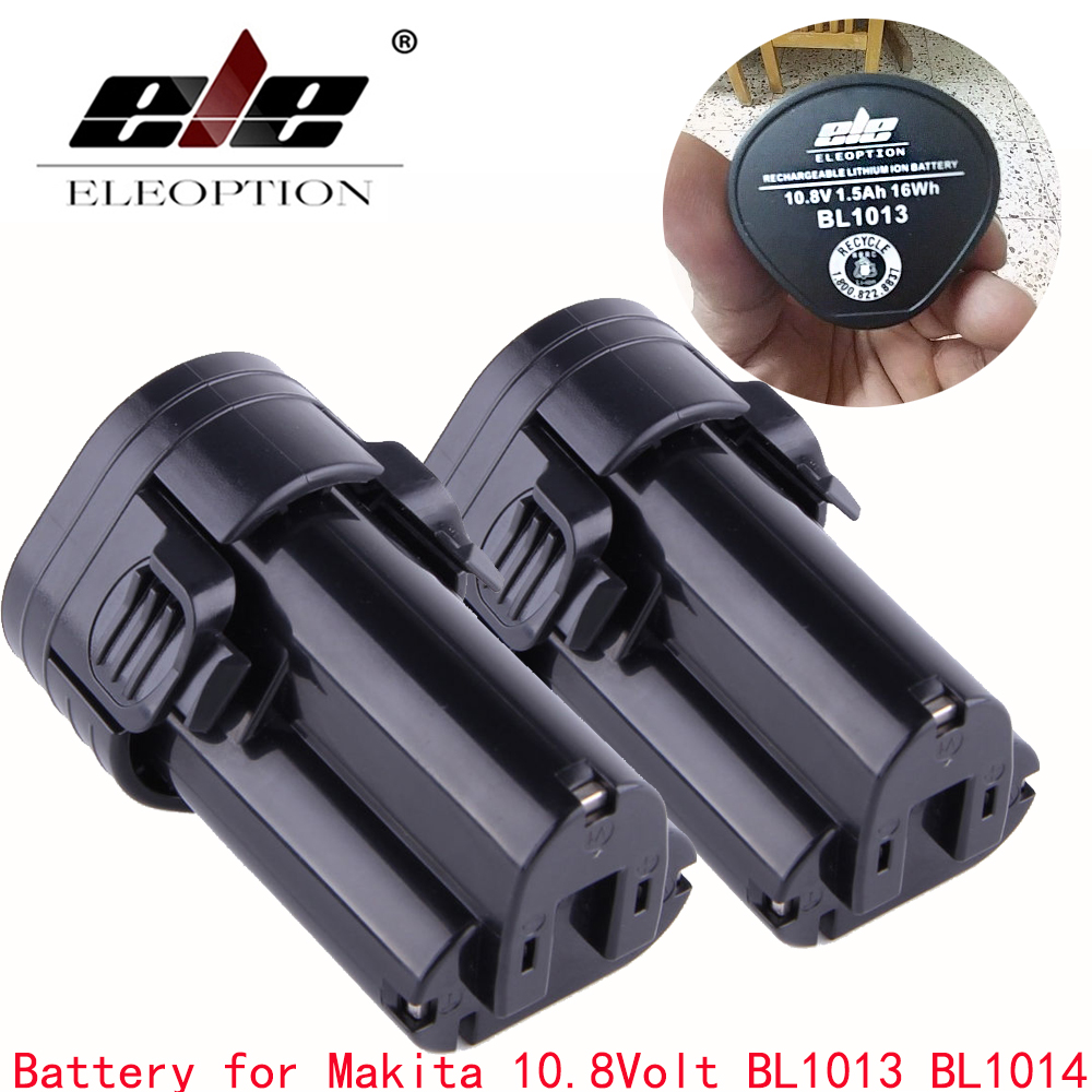 ELE ELEOPTION 2PCS 1500mAh Li-ion Battery for Makita 10.8V BL1013 BL1014 TD090D TD090DW LCT203W 194550-6 194551-4 4x battery for makita 10 8v 10 8 volt bl1013 bl1014 td090d td090dw lct203w 194550 6 194551 4li ion electric power tool charger