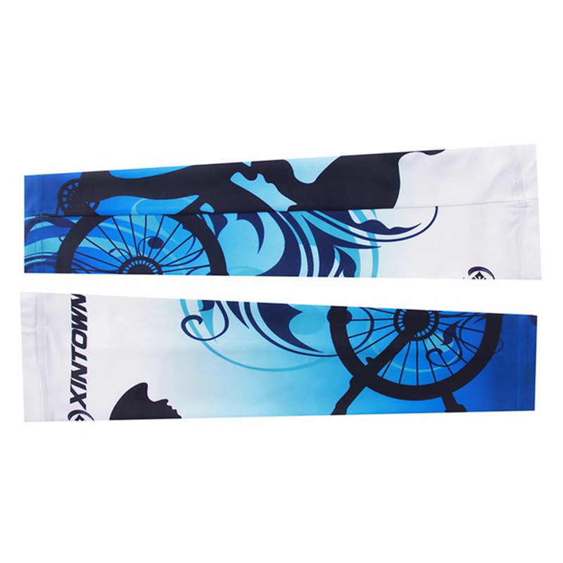 Sun Protection Arm Cuff Sleeve Cover for Riding Cycling Bicycle blue+White