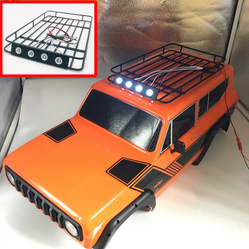 1set 235*140*20mm Metal Roof Rack Luggage Carrier With LED Light For Redcat GEN8 RC Crawler Cars Top Shelf
