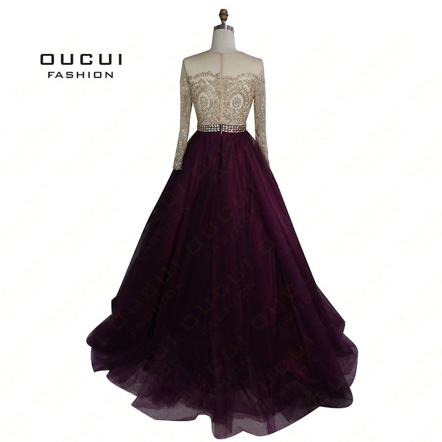 Full Drilling Handmade Long Sleeves Beaded Sashes Embroidery Dress