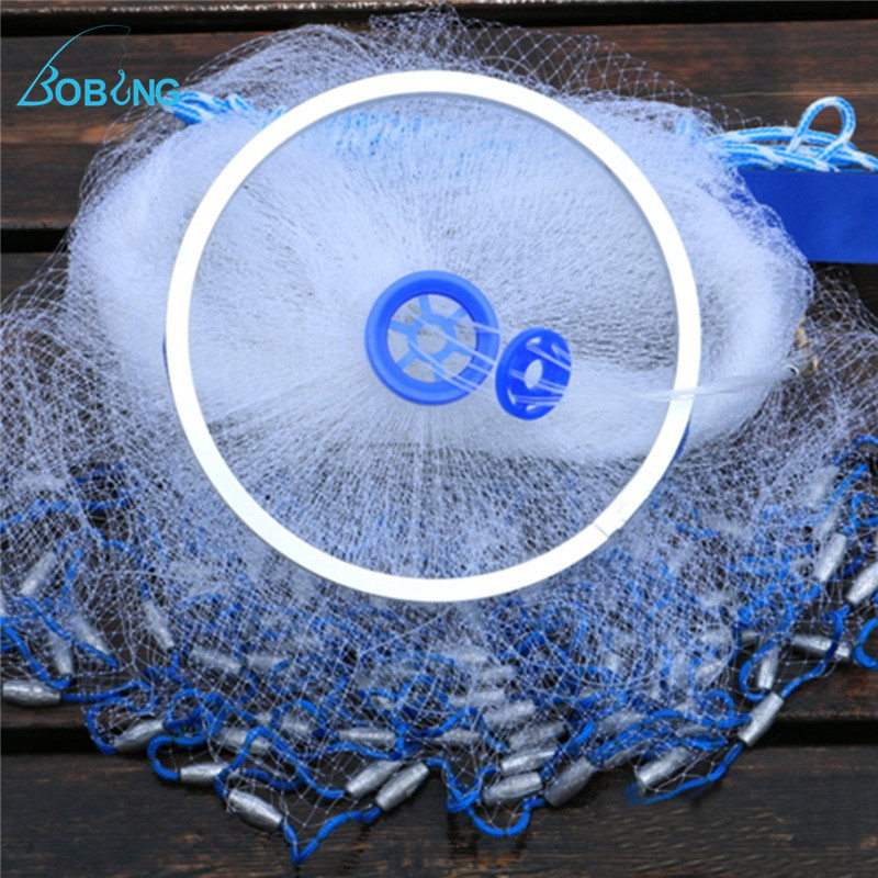 Bobing 2kg 3 Meters Fishing Net Outdoor Sports Cast Fishing Hand Spin Nets Monofilament With Aluminum Rings Tackle Accessory quality gill net h5 l95m 3layer 3 5 and 19cm mesh sink net fish trap sticky fishing net outdoor pesca reservoir fishing network