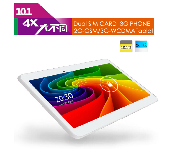 купить Free shipping Cell Phone Tablet PCs Duad Core 10 Inch Note 3G 2G GSM 3G WCDMA Android 4.4 1.3GHZ 1G/8GB White With FREE Case по цене 9519.65 рублей