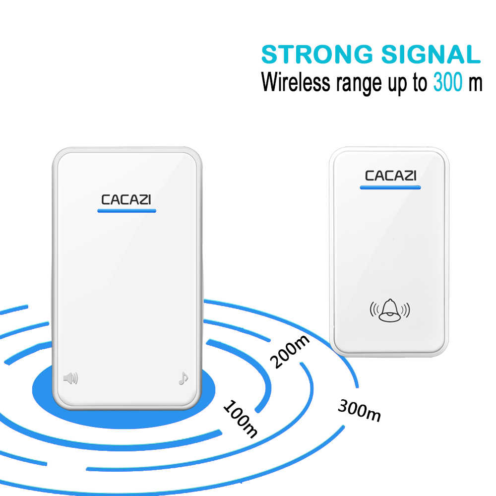 Timbre inalámbrico CACAZI luz LED a prueba de agua 300 M remoto 2 botones 2 receptor 48 Chime 6 Volumen llamada inalámbrica del hogar bell enchufe de la UE
