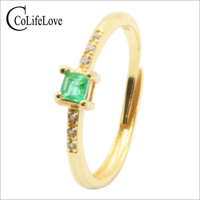 CoLife Jewelry classic emerald engagement ring 3mm natural emerald silver ring solid 925 silver emerald gemstone