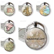 Подарок путешественника винтажная карта брелок стеклянный купол