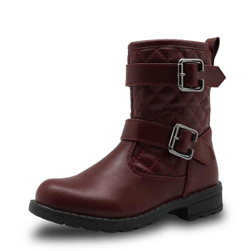 Apakowa Ilkbahar ve Sonbahar Orta Buzağı Kız Botları Çocuk Pamuk Yastıklı Pu deri ayakkabı Kızlar için Moda Motor bootlar