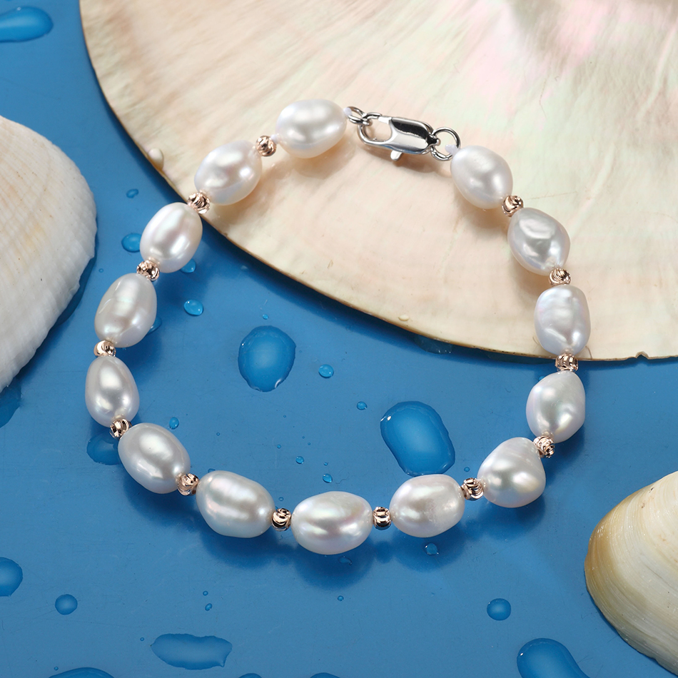 New Design Natural Baroque Pearl Bracelet for Lady Handmade Fine Jewelry Gifts 7 8MM Freshwater Pearl Bracelets Wholesale FEIGE in Bracelets Bangles from Jewelry Accessories