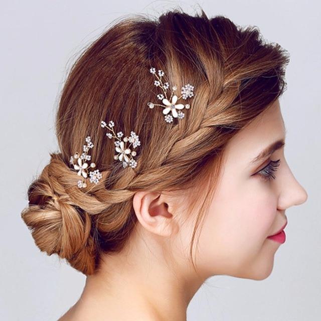 3pcs Wedding Accessories Hair Jewelry Small Flower Sweet Aesthetic Elegant U Shape Hairpin Sticks