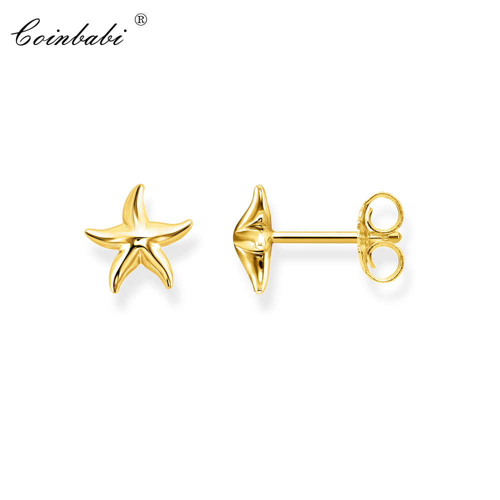 Stud Earrings Gold Starfish Trendy Gift For Women Girls Ts High Quality Earring Thomas 925 Sterling Silver 2018 Fashion Jewelry