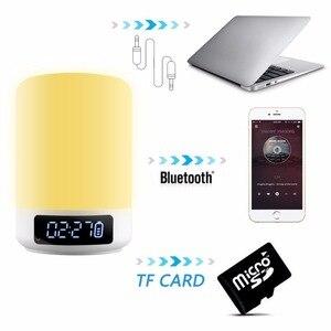 Image 5 - Nacht Licht Bluetooth Lautsprecher Touch Sensor RGB Dimmbare Warm Weiß Wecker USB AUX MP3 Player für Kinder Party Schlaf als geschenk
