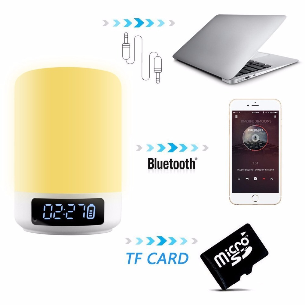 Image 5 - Night Light Bluetooth Speaker Touch Sensor RGB Dimmable Warm White Alarm Clock USB AUX MP3 Player for Kids Party Sleep As gift-in Portable Speakers from Consumer Electronics