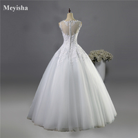 9036 2016 Lace White Ivory A Line Wedding Dresses For Bride Gown Appliques Vintage Plus Size