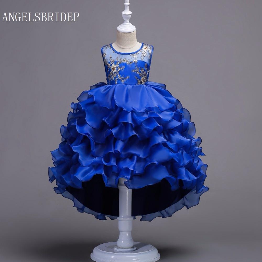 ANGELSBRIDEP Girls Ball Gown High Low Flower Girl Dresses Organza Embroidery Ruffles Evening Gowns First Communion Dresses