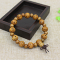 Mahogany Prayer Beads Copper Buddhist Cylindrical Bracelet Men Wooden Jewelry Hollow Engraving Good Luck Mala Bracelets