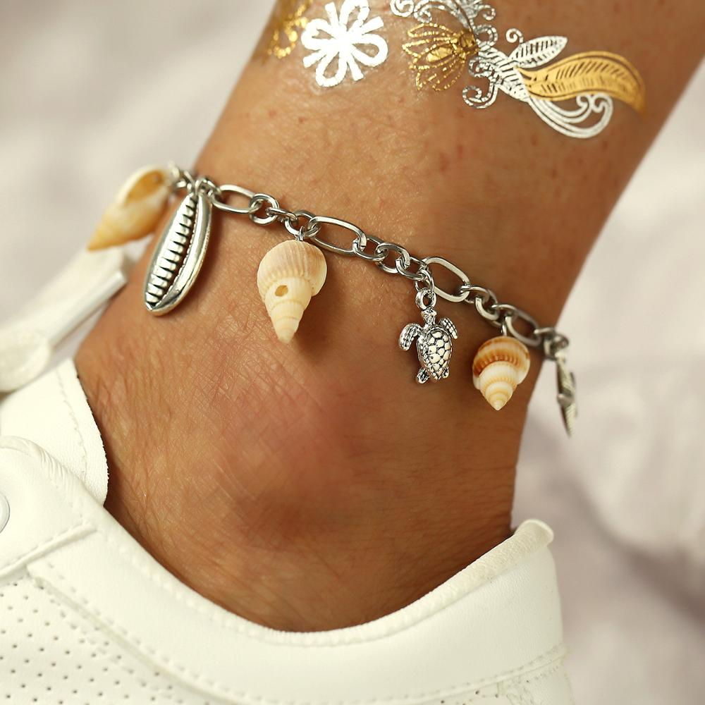 Modyle Bohemian Fashion Beach Jewelry Vintage Silver Color Turtle Shell Conch Anklets For Women