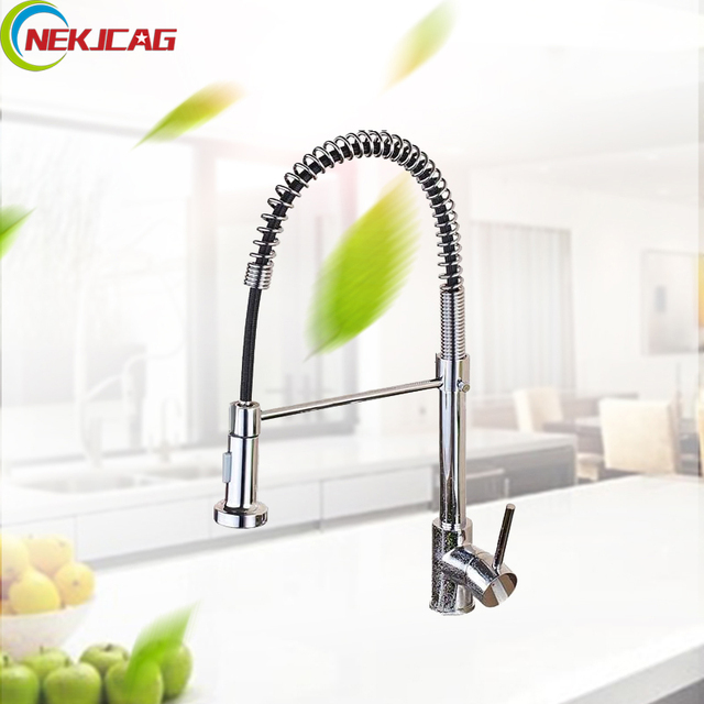 Deck Mounted Kitchen Spring 360 Ratation Faucet Pull Out Sprayer ...