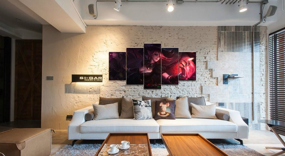 5Panel LOL League of Legends Morgana Game Canvas Printed Painting For Living Room Wall Art Decor HD Picture Artworks Poster in Painting Calligraphy from Home Garden