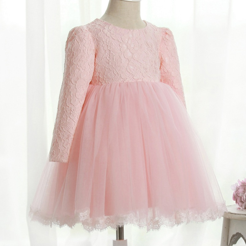 Puff Sleeve Kids Lace Tulle Dress For Girls Wedding Party Summer ...
